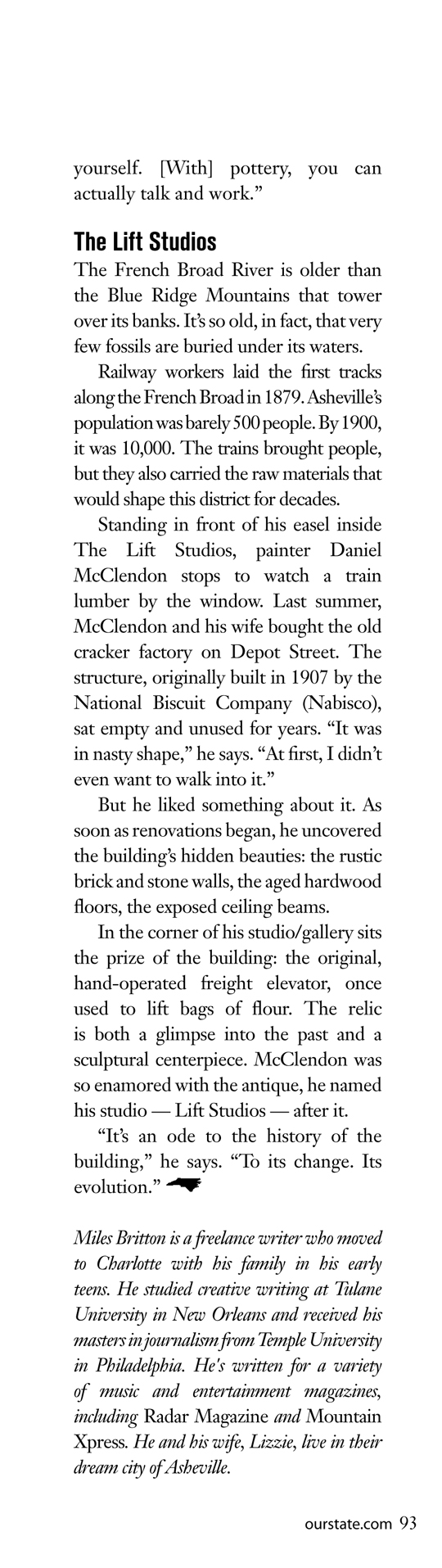 Our State Article about Daniel McClendon Asheville Artist