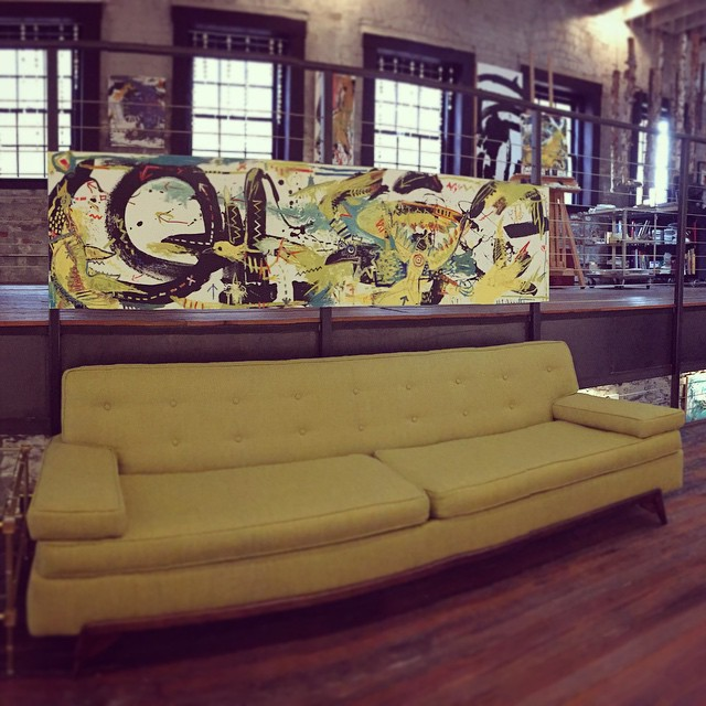 8 ft painting over an 8 ft sofa. Sometimes life just goes right ahead and gives you lemonade