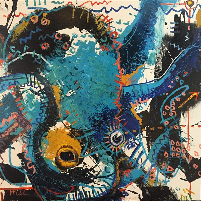 """Octopus IV- 48""""x46""""- I haven't had the opportunity to paint an octopus in 3-4 years"""