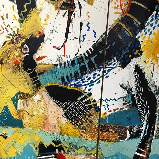 """""""The fight"""" - a diptych - each panel is 72""""x24"""" (6'x4') DETAIL"""