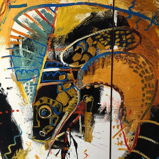 """""""The fight"""" - a diptych - each panel is 72""""x24"""" (6'x4' total"""