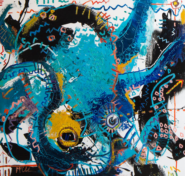 Octopus 4 painting by Daniel McClendon asheville artist