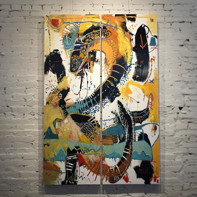 """""""The fight"""" - 6'x4' diptych- This iconic battle is incredibly interesting to me. Maybe I read Kipling's """"The Jungle Book"""" and just don't remember"""