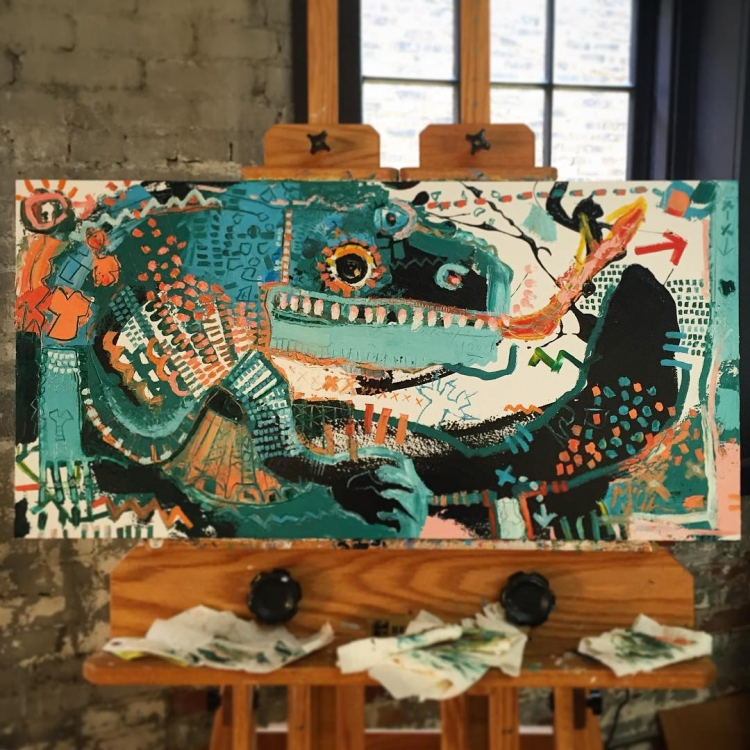 "Gila MONSTER - 18""x36"" - when someone tells me, ""you should paint a cat, people love cats,"" I'll probably smile, say thanks, and go back to working on my Gila Monster inspired painting that looks like someone tried to quilt an image of Godzilla"