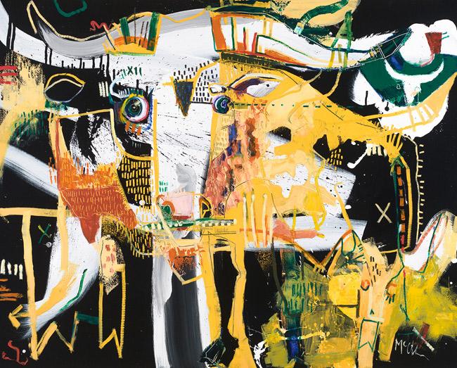 Watusi Bull McClendon Fine Art Modern Fine Art Asheville Painting