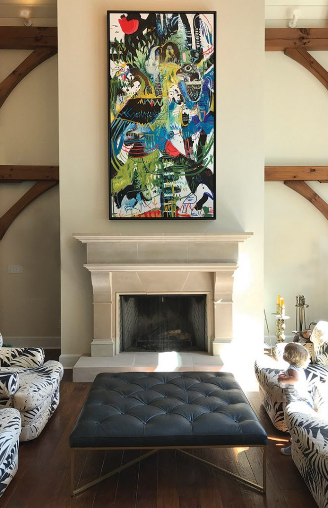 A large colorful painting titled Perch hangs on walll