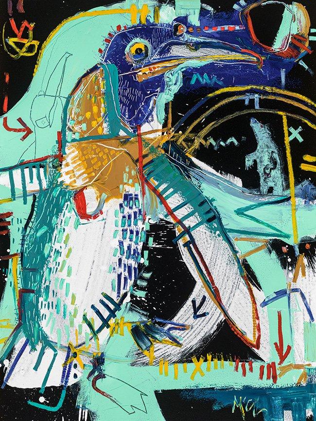 emperor penguin McClendon Fine Art Modern Fine Art Asheville Painting