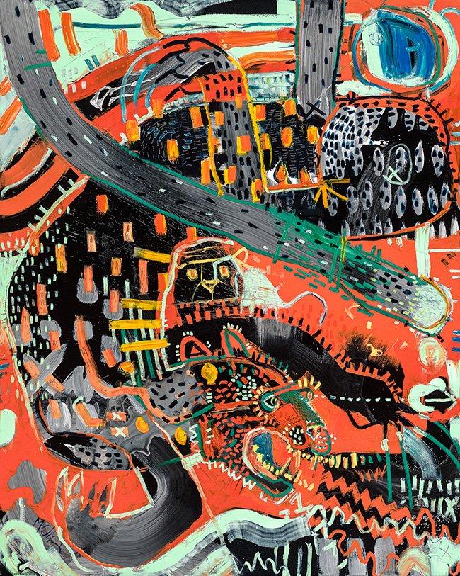 Clouded Leopard McClendon Fine Art Modern Fine Art Asheville Painting