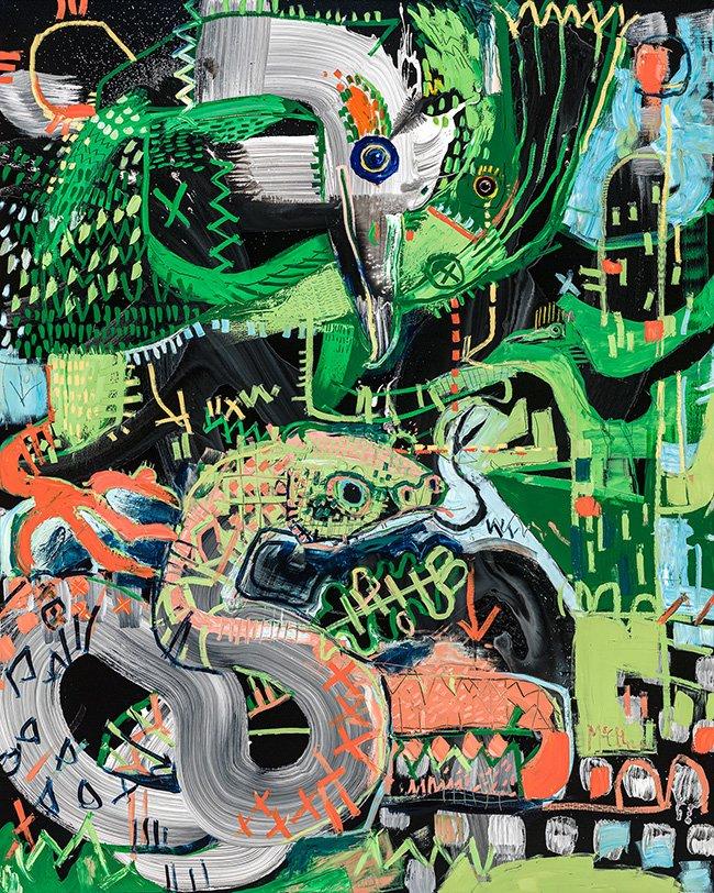 Roadrunner and Rattlesnake McClendon Fine Art Modern Fine Art Asheville Painting