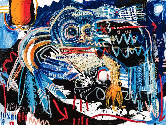 Spotted Owl blue McClendon Fine Art Modern Fine Art Asheville Painting