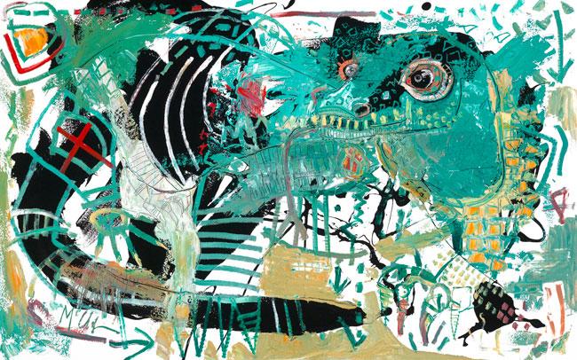 Komodo Dragon Painting by Daniel McClendon Asheville