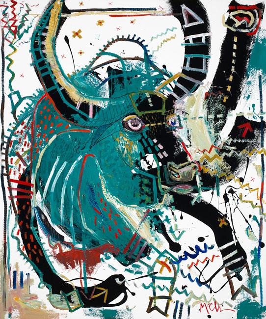 Water Buffalo Painting by Daniel McClendon Asheville Artist
